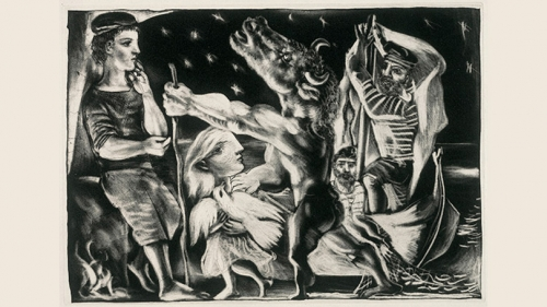 "Pablo Picasso, ""Blind Minotaur Guided by a Young Girl through the Night"""