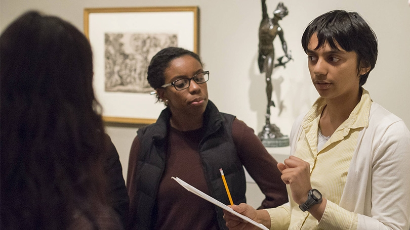 An Art History class visits the Hood Museum of Art