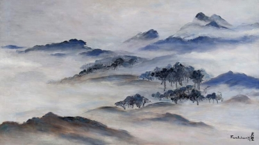 "Fan Tchunpi, ""White Mountain Landscape,"" about 1960, oil on canvas."