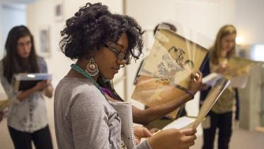 An Art History class visits the Hood Museum of Art